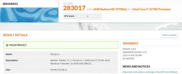 PR ASUS ARES II helps set 3DMark03 world record